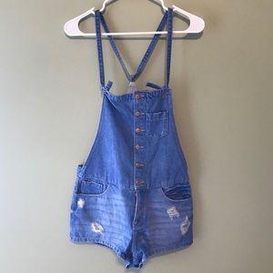 Zara Trafaluc Distressed Denim Overall Shorts
